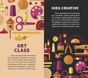 Creative art vector poster for kids DIY projects or handicraft and handmade craft workshop classes Stock Photo