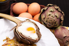 Creative Artichoke Eggs Stock Photos