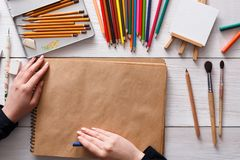 Workplace of artist, flat lay, top view, desktop Royalty Free Stock Image