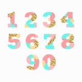 Creative artistic colorful Arabic numerals with golden glitter texture. Isolated on white background. Vector illustration Stock Photos