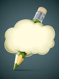 Creative artistic concept pencil in cloud. Vector illustration Stock Photo