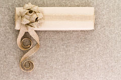 Creative artistic rustic Christmas gift on burlap Royalty Free Stock Images