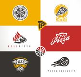 Creative artistic set with various pizza symbols, icons and logos. Fast food logo sign, symbol royalty free illustration