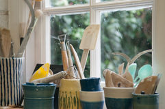 Creative artists tools in the workshop Royalty Free Stock Photo