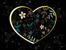 Creative artwork design heart on floral background Royalty Free Stock Images