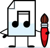 Creative Audio File. A cartoon illustration of an audio file with a paintbrush Royalty Free Stock Images