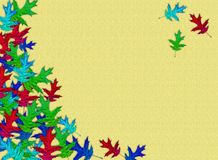 Creative autumn background. Rainbow maple leaves on a yellow background. Empty place for text stock photo