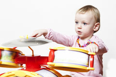 Creative baby play drums Stock Photo