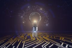 Idea and achievement concept. Creative background with arrows and glowing lamp. Idea and achievement concept. 3D Rendering Royalty Free Stock Photo