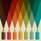 Creative background with colored pencils Stock Photos
