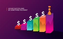 Creative background finance concept with gradient. Creative background finance design with gradient color, pawn, money icon, graphic Royalty Free Stock Images