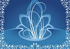 Creative background with floral elements in blue color, vector i Stock Image