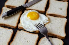 Creative background with fried egg and toast bread