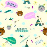 Teepee style background. Creative background in indian style with teepee, arrows, feathers and brave animals royalty free illustration
