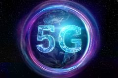 Creative background, the inscription 5G on the background of the globe. The concept of 5G network, high vector illustration