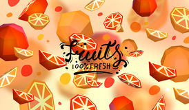 Creative background with low poly fruit. Illustration with polygonal grapefruit and orange. vector illustration