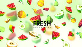 Creative background with low poly fruit. Illustration with polygonal pear and watermelon.