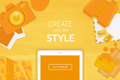 Creative background in orange style Stock Photography