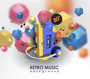 Creative background with retro cassette player. Template with music device and low poly elements. Creative background with retro cassette player royalty free illustration