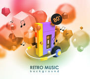 Creative background with retro cassette player. Template with music device and low poly elements. Creative background with retro cassette player vector illustration