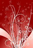 Creative background with scrolls, circles and heart shapes, vect royalty free illustration