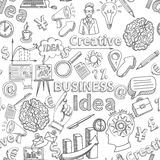 Creative Background Seamless. Pattern with business idea symbols vector illustration Stock Photos