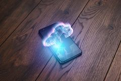 Creative background, smartphone and cloud hologram image on wooden table. The concept of cloud technology vector illustration