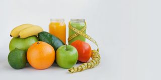 Vegetarian raw food concept smoothies juices fasting for health and weight loss stock image