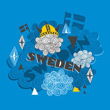 Creative background with swedish symbols. Royalty Free Stock Image
