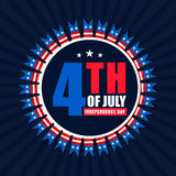 Creative Badge for 4th of July celebration. Creative Badge design with American Flag colors text 4th of July on blue rays background for Independence Day Stock Photos