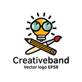 Creative band color logo icon art symbol bulb. Royalty Free Stock Photos
