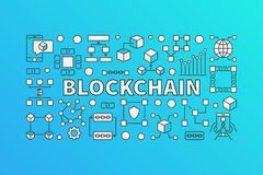 Creative banner made with block-chain line icons. And word BLOCKCHAIN inside on blue background Stock Images