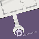 Creative banner for repair of houses. With a paper wrench Royalty Free Stock Photos