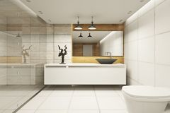 Creative bathroom interior. With refelctions on wall. 3D Rendering royalty free illustration