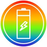 A creative battery circular in rainbow spectrum. An original creative battery circular in rainbow spectrum stock illustration
