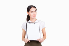 Creative beautiful business woman holding white blank Stock Photography