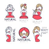 Creative beauty salon emblems in linear style. Geometric logos with gentle women silhouettes and text. Vector labels for royalty free illustration
