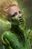Creative beauty shot with body-art. Creative beauty shot with green body-art Royalty Free Stock Photos