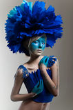 Creative beauty shot with cyan headdress Stock Photography