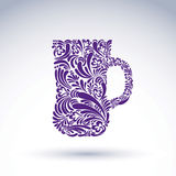 Creative beer mug decorated with floral pattern. Royalty Free Stock Images
