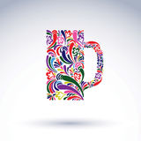 Creative beer mug decorated with vector floral pattern. Alcohol Stock Photos