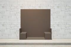 Creative black bench front Stock Photos