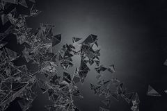 Creative black polygonal background. Art, creativity concept. 3D Rendering Stock Photography