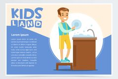 Creative blue card with place for text and cute boy character washing the dishes in tap. Kid doing a home cleanup. Household chores. Children helping parents stock illustration