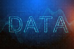 Computing and data concept. Creative blue digital background with text. Computing and data concept. 3D Rendering Stock Image