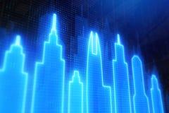 Blue neon city backdrop vector illustration