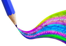 Creative blue pencil with wave colorful. Royalty Free Stock Image