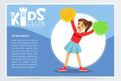 Creative blue poster for kids club with happy teenager girl cheerleader dancing with pom poms. Colorful flat vector. Creative blue poster for kids club with Royalty Free Stock Image