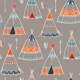 Creative boho pattern with teepee or wigwam. Stock Photos