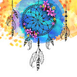Creative Boho Style Dreamcatcher. Boho Style Dreamcatcher, hand drawn  illustration. Colorful grunge with tribal elements Royalty Free Stock Photo